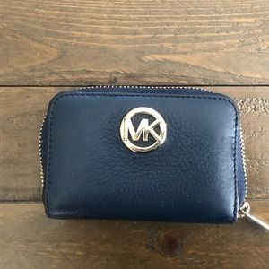 Small Navy Leather Wallet - MICHAEL KORS